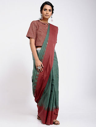 Green-Red Cotton Saree