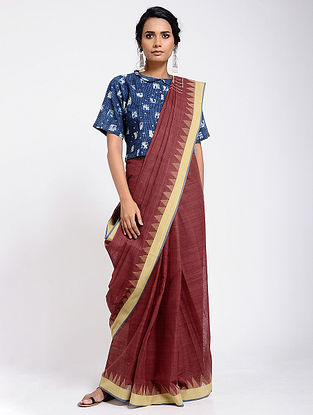 Red Jamdani Cotton Saree