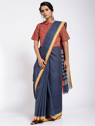Blue-Yellow Cotton Saree