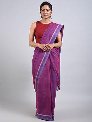Purple-Blue Handwoven Cotton Saree