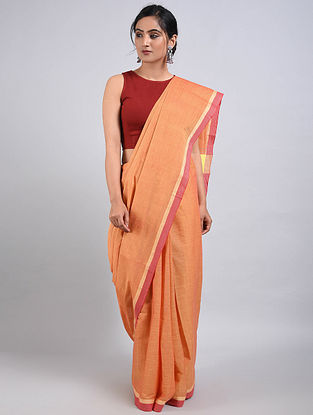 Peach Handwoven Cotton Saree