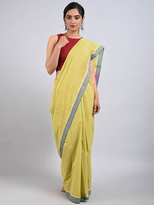 Yellow-Pink Handwoven Cotton Saree