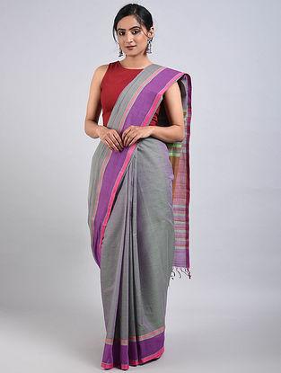 Grey-Purple Handwoven Cotton Saree