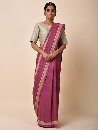 Purple Handwoven Kota Doria Saree