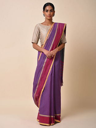 Purple Handwoven Cotton Saree