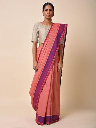 Peach-Purple Handwoven Cotton Saree