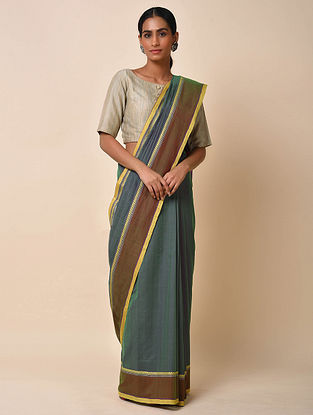 Grey-Brown Handwoven Cotton Saree