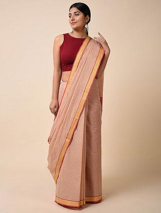 Beige-Red Handwoven Cotton Saree