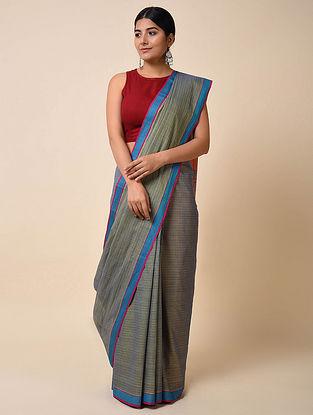 Grey-Blue Handwoven Cotton Saree
