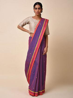 Blue-Purple Handwoven Cotton Saree