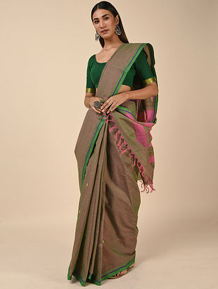 Brown-Green Handwoven Cotton Saree