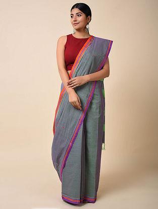 Blue-Orange Handwoven Cotton Saree
