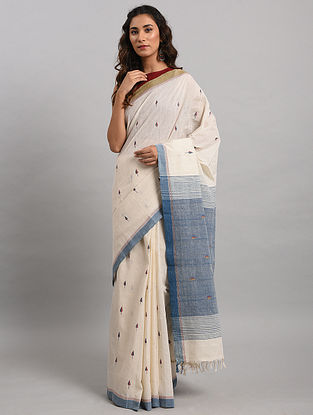 Ivory-Blue Handwoven Jamdani Cotton Saree