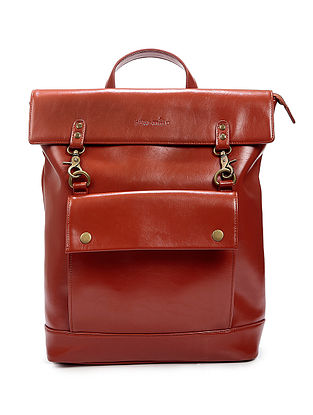 Brown Vegan Leather Backpack