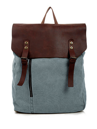 Grey-Tan Canvas and Leather Backpack