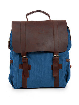 Blue-Tan Canvas and Leather Backpack