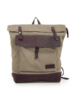 Brown Canvas and Leather Backpack