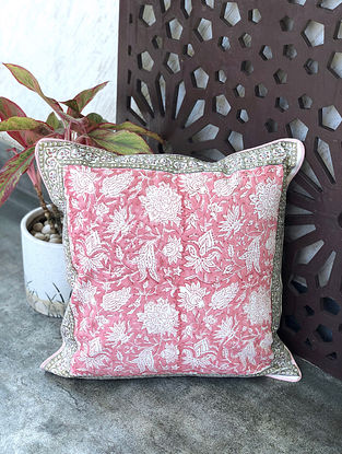 Jaal Pink and Green Handblock Printed Cotton Cushion Cover (16in x 16in)