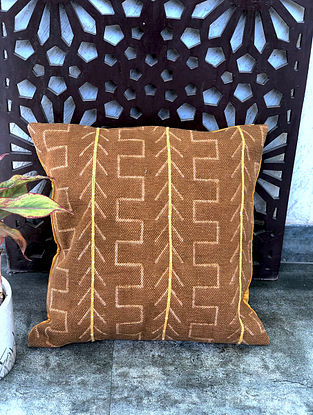 Gypsy Brown Handblock Printed Cotton Cushion Cover (18in x 18in)