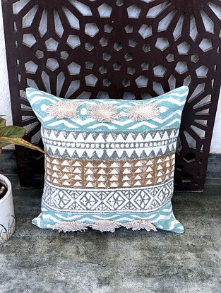 Aztec Dorri Turquoise Handblock Printed Cotton Cushion Cover (18in x 18in)