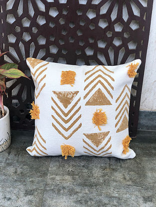 Aztec White Handblock Printed Cotton Cushion Cover (18in x 18in)