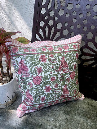 Pink Handblock Printed Cotton Cushion Cover (16in x 16in)
