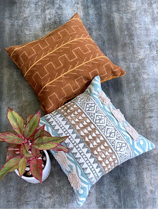 Gypsy Boho Turquoise and Brown Handblock Printed Cotton Cushion Covers (Set of 2) (18in x 18in)