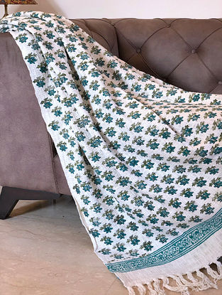 White and Green Hand Woven and Handblock Printed Cotton Throw (61in x 50in)