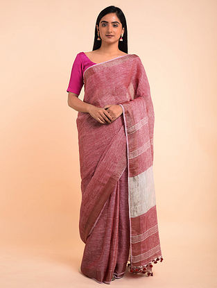Pink-White Handwoven Linen Saree with Tassels