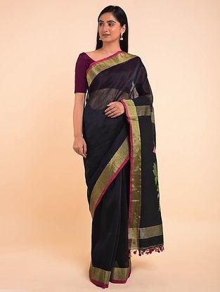 Black Handwoven Jamdani Linen Saree with Tassels
