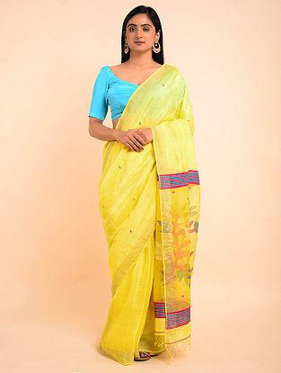 Yellow Handwoven Jamdani Silk Linen Saree