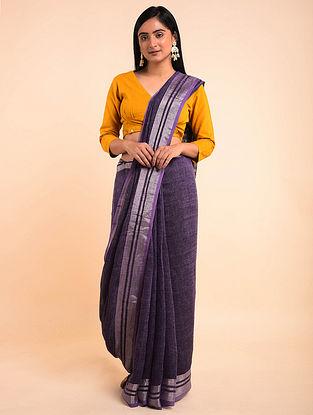 Purple Handwoven Linen Saree