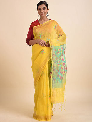 Yellow-Green Jamdani Silk Linen Saree