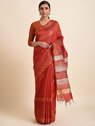 Red Tussar Silk Bhagalpuri Saree with Zari