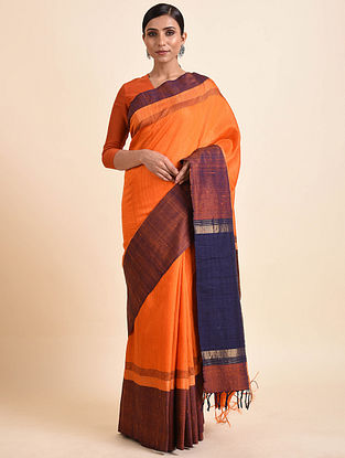 Orange-Blue Tussar Silk Bhagalpuri Saree with Zari