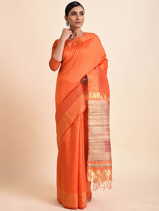 Orange Tussar Silk Bhagalpuri Saree with Zari