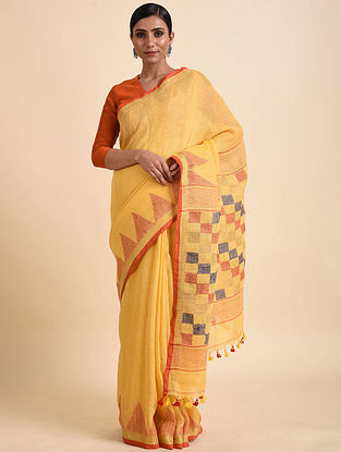 Yellow Jamdani Linen Saree