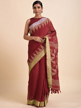 Red Jamdani Linen Saree