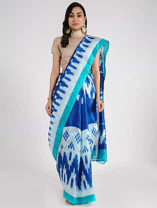 Blue Block-printed Mulberry Silk Saree