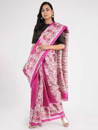 Pink-Ivory Block-printed Mulberry Silk Saree