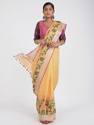 Yellow Linen Saree with Zari and Tassels