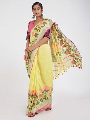 Yellow-Black Linen Saree with Zari and Tassels