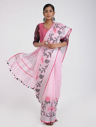 Pink-Black Linen Saree with Zari and Tassels