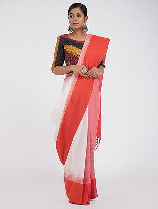 Ivory-Red Jamdani Cotton Saree