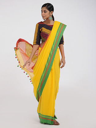 Yellow-Green Cotton Saree with Tassels