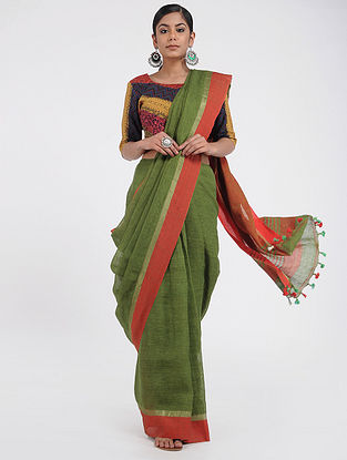 Green-Red Linen Saree with Tassels