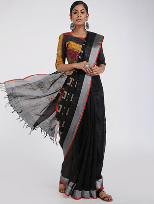 Black Linen Saree with Zari Border