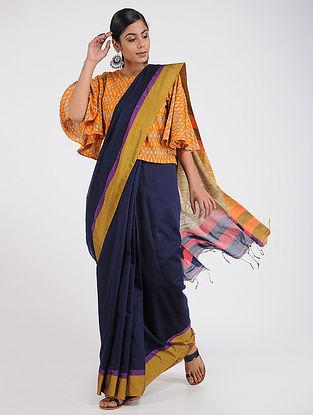 Blue-Yellow Cotton Silk Saree