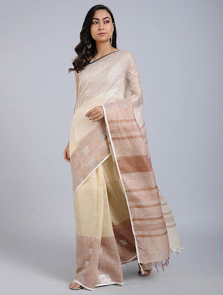 Beige-Brown Linen Saree