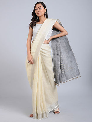 Ivory-Black Linen Saree with Tassels